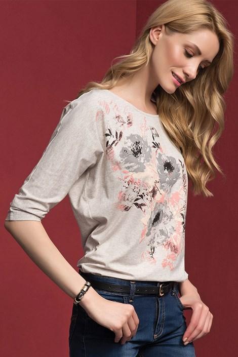 Bluza dama Adelina Beige, cu motive florale