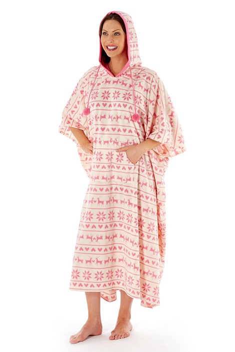 Capot tip poncho Hearty Winter Pink