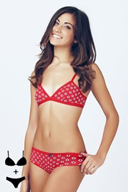 Set sutien neintarit si chilot 4363 Red