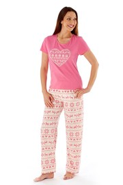 Pijama dama Hearty Winter Pink