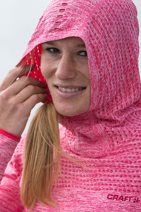 Hanorac dama Craft Core Hood Seamless Pink, material functional