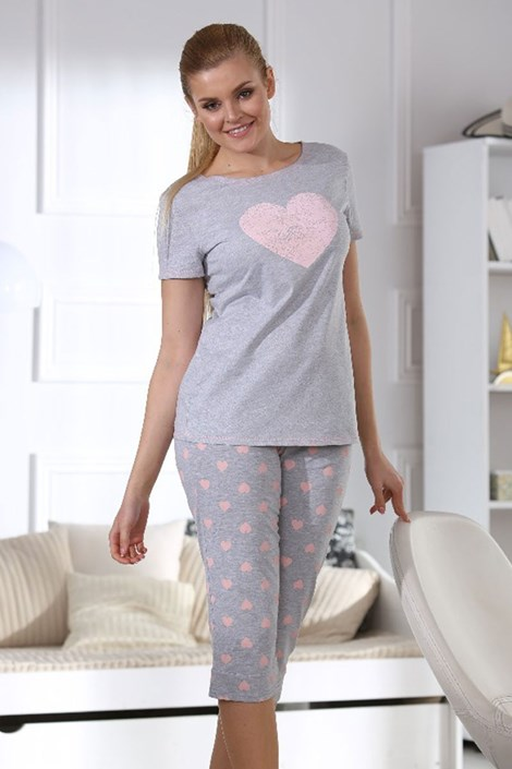 Pijama dama Hearts grey