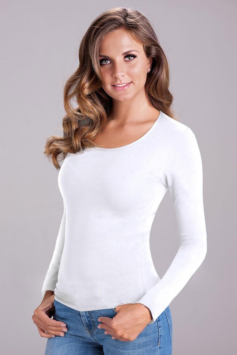 COTONELLA Bluza pentru femei cu maneca lunga Nika White