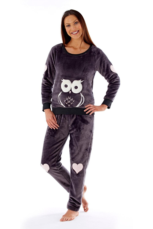 Pijama dama Owl grafit