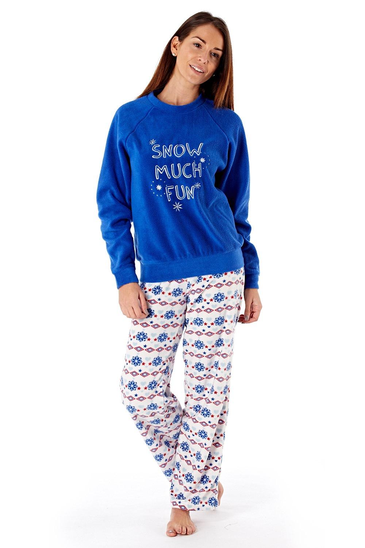 Pijama dama Show much fun Blue material fleece