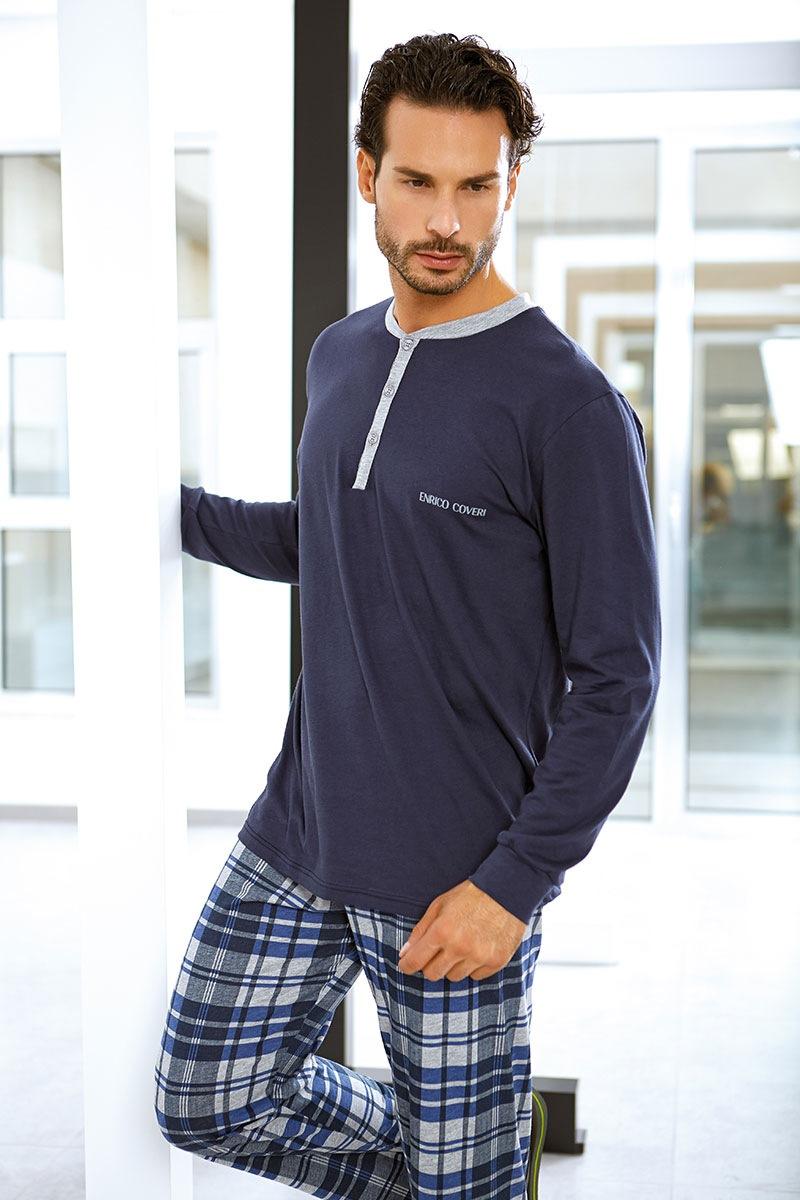 Enrico Coveri Set barbatesc Flavio din bumbac – bluza pantalon