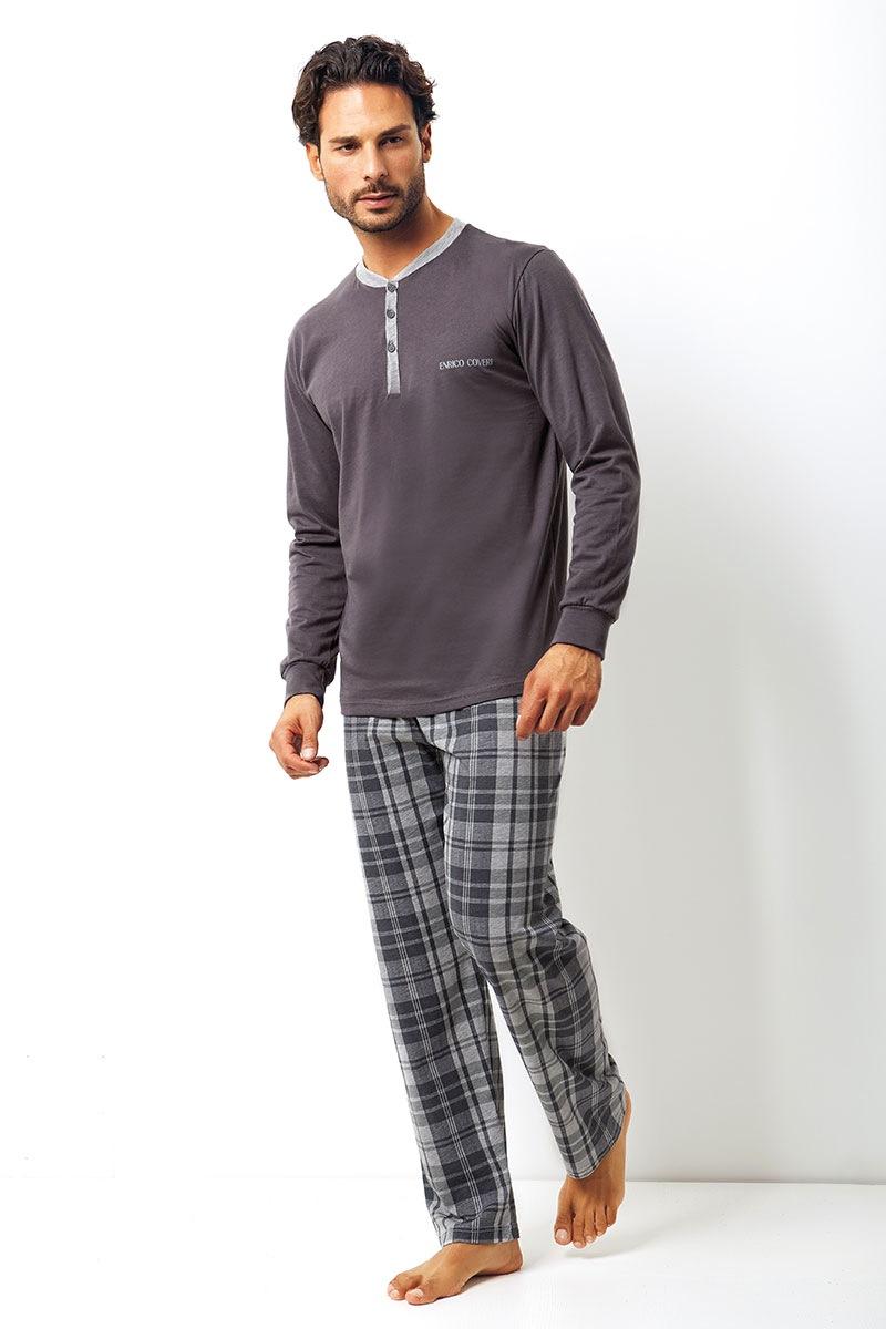 Enrico Coveri Set barbatesc Placido din bumbac – bluza pantalon