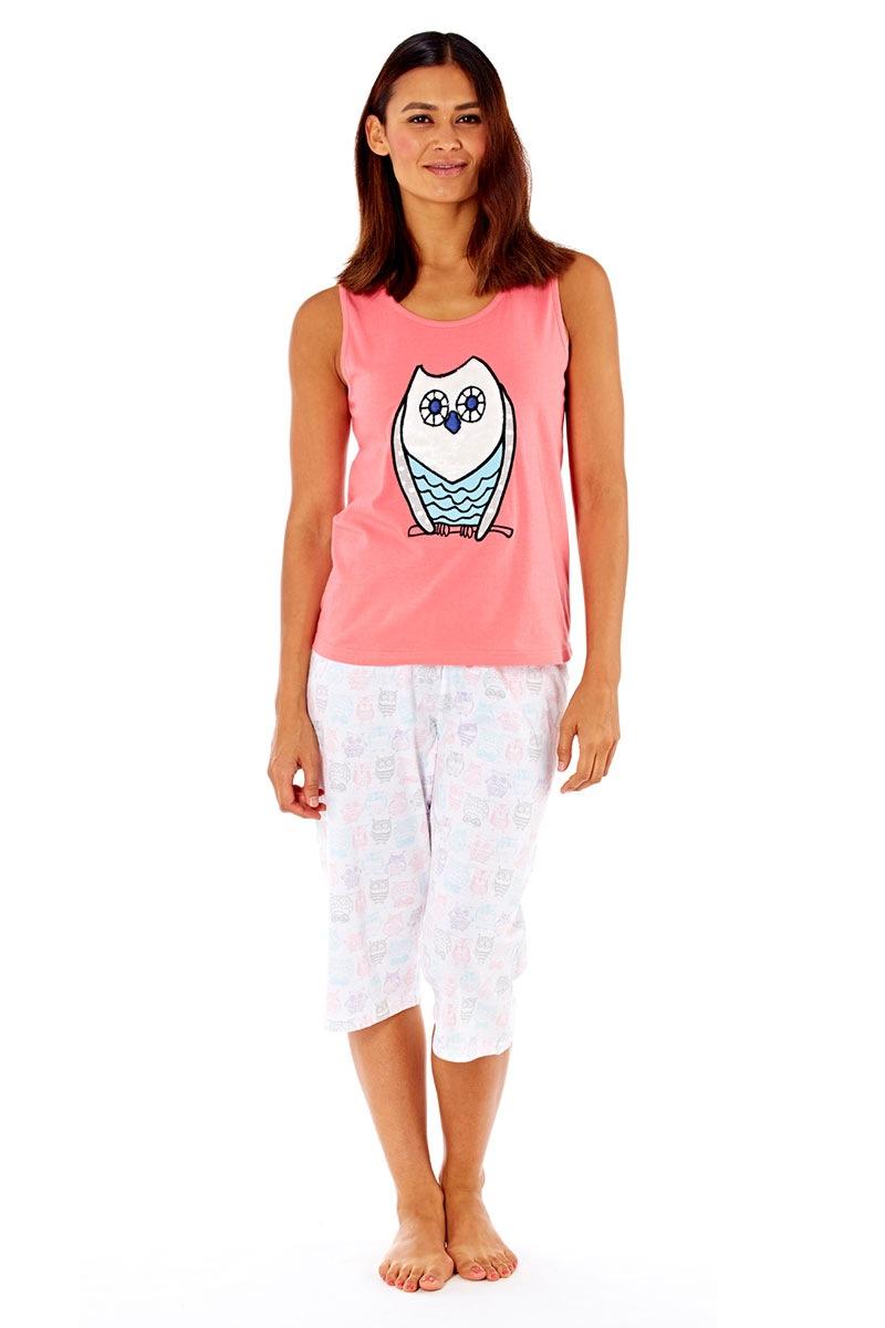 Pijama dama Owl Coral din bumbac