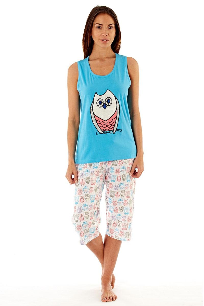 Pijama dama Owl Blue din bumbac