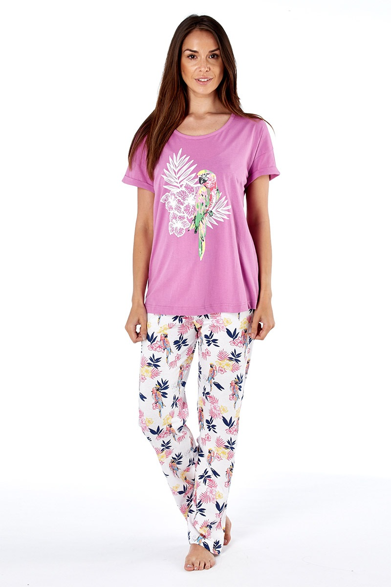Pijama dama Parrot pink din bumbac