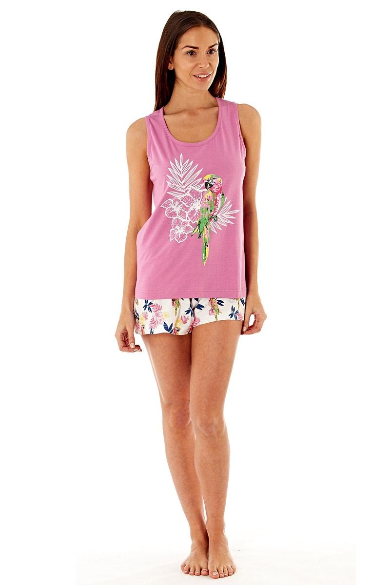 Pijama dama Parrot Pink scurta din bumbac
