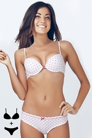 Set sutien cu efect Push-Up si chilot DottyWhite 4344