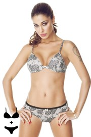 Set sutien fara balene si chilot 4373 Grey