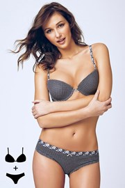 Set sutien cu efect Push-Up si chilot 4374 Grey