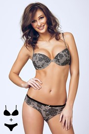 Set sutien cu efect Push-Up si chilot 4375 Black