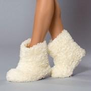Papuci de casa caldurosi Abi Ecru
