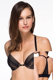 Sutien Valerie Black Push-UP, inchidere in fata
